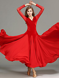 Ballroom Dance Women Performance Tulle Velvet Draped Splicing 1 Piece Long Sleeve Natural Dress