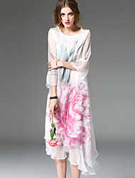 REVIENNE BAY Women's Going out Holiday Cute Swing DressFloral Round Neck Midi Long Sleeve White Silk Spring Summer Mid Rise Micro-elastic Medium