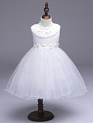A-line Knee-length Flower Girl Dress - Organza Jewel with Beading