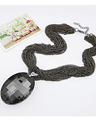 Necklace Crystal Pendant Necklaces Jewelry Party / Daily / Casual Cute Style Crystal / Gold Plated / GlassLight Brown / White / Green /