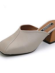 Women's Flats Summer Fall Slingback PU Office & Career Dress Casual Low Heel Rhinestone Buckle Black White Walking