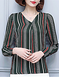 Fashion Spring Lapel Long Sleeves Self-Cultivation Stripe Wild Upper Outer Garment Daily Leisure Party Dating Shirt