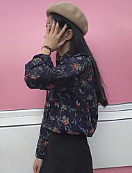 Kleid süßen koreanischen Frauen Retro Druck Revers Langarm-Button-down-Hemd Chiffonbluse unterzeichnen