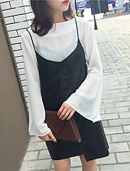 assinar 2017 coreia ulzzang pulseira de couro preto pu saia colete vestido de assentamento