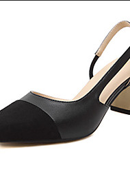 Sandals Spring Fleece Dress Chunky Heel Split Joint Black Almond