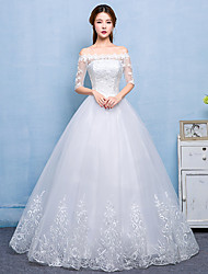 Ball Gown Wedding Dress - Chic & Modern Lacy Look Floor-length Bateau Lace Satin Tulle with Lace