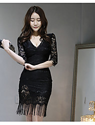 2016 fall and winter clothes black lace dress Slim package hip sexy ladies temperament ladies bottoming skirt