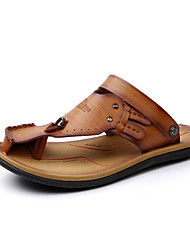 Men's Slippers & Flip-Flops Spring Summer Light Soles Leather Casual Others Black Brown Other
