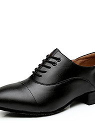 Men's Dance Shoes Leather Modern Heels Low Heel Outdoor / Performance Black/Black and White