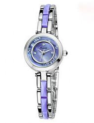 Mulheres Relógio de Moda Quartzo imitação de diamante Lega Banda Elegantes Roxa marca