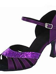 Customizable Women's Dance Shoes Satin Paillette Latin Ballroom Jazz Swing Shoes Salsa Sandals Customized Heels Practice