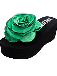 Women's Slippers & Flip-Flops Summer PU Outdoor Casual Flat Heel Satin Flower Black Green