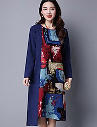 HOT!Women's Casual/Daily Vintage Simple Loose DressFloral Color Block Round Neck Knee-length Long Sleeve Cotton Linen Blue Red GreenSpring