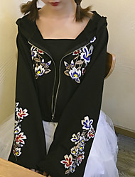 Sign new spring flower embroidery zipper pocket trumpet sleeves long-sleeved hooded sweater coat thin section