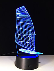 1шт сенсорный 7-цвет парусное светодиодные лампы 3d светлого цвета видение стерео красочный градиент акриловой лампы ночного видения света
