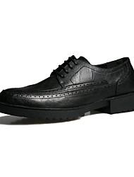 Men's Flats Spring Fall Comfort Microfibre Outdoor Casual Low Heel Black Dark Grey Running