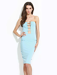 Women's Going out / Party/Cocktail / Club Simple Bodycon DressPrint Boat Neck Knee-length Sleeveless Blue