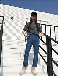 знак весной 2017 года корейская версия на открытом воздухе был тонкий брюки джинсы женщины диких