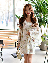 DABUWAWA Women's Going out Beach Holiday Vintage Boho Sophisticated Shift Sheath Chiffon DressFloral Color Block Flower Ruched V Neck Above KneeLong