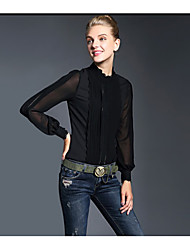 Women's Work Simple Shirt,Solid Round Neck Long Sleeve White Black Silk