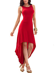 Women's Party Sexy Simple Sheath Swing Solid Cut Out Pleated Round Neck Asymmetrical Sleeveless Dress