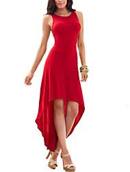 Kadın Parti/Kokteyl Seksi Sade Kılıf Çan Elbise Solid,Kolsuz Yuvarlak Yaka Asimetrik Mavi Kırmızı Siyah Mor Polyester Splandeks YazNormal