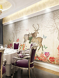 Art Deco Wallpaper For Home Wall Covering Canvas Adhesive Required Mural Forest Deer Style is SimpleXXXL(448*280cm)