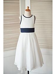 a-line чайное платье из цветной девушки - шифон без рукавов с шеей с лентой от thstylee