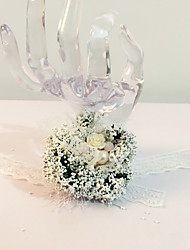 "Wedding Flowers Round Hand-tied Wrist Corsages Wedding Party/ Evening Lace Bead Dried Flower 5.12""(Approx.13cm)"