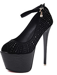 Heels Spring Club Shoes Fabric Dress Stiletto Heel Rhinestone Black