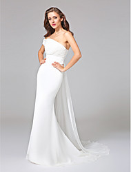 Mermaid / Trumpet One Shoulder Watteau Train Chiffon Wedding Dress with Criss-Cross Ruche by LAN TING BRIDE®