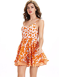 Casual/Daily Beach Party/Cocktail Sexy Chiffon Dress,Floral Strap Above Knee Sleeveless Polyester Orange Summer High Rise Inelastic