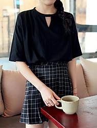 Femme Foulard s d'été de graisse mm d'épaisseur lâche s t-shirt à manches courtes occasionnels creux creux chemise triangle inversé