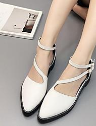 Flats Spring Comfort PU Dress Flat Heel Buckle Black White