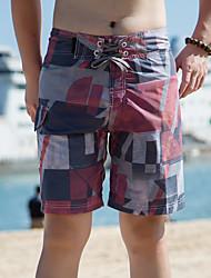 Masculino Solto Chinos Shorts Calças-Color Block Casual Praia Esportivo Boho Activo Cintura Média Com Cordão Elasticidade Algodão Raiom