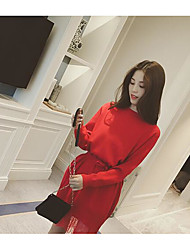 2017 spring new round neck waist lace stitching hedging long sweater dress women