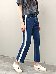 Sign bars knit stitching Korean high waist wide leg denim trousers burr straight jeans female Spring