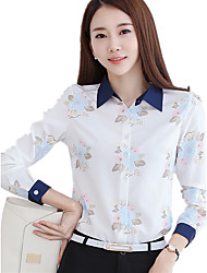 Women's Shirt Collar Plus Size OL Floral Print Cut Out Long Sleeve Chiffon Shirt