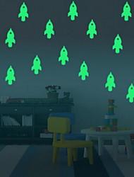 Cartoon Rocket Luminous Wall StickersVinyl Material Kid's Room Decoration