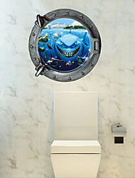 Sitting Room Adornment Wall Stickers 3 d Sharks Bathroom Toilet Waterproof Ceramic Tile Wall Stickers