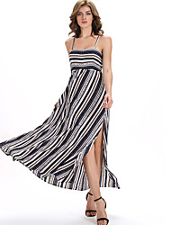 Formal Beach Party/Cocktail Sexy Swing Dress,Striped Backless Strap Maxi Sleeveless Cotton Multi-color Spring Summer High Rise