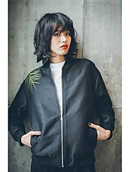 2017 Retro leaves embroidered baseball jacket collar short paragraph long-sleeved jacket zipper Spring