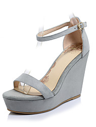 Women's Sandals Spring Summer Fall Club Shoes Cashmere Wedding Office & Career Dress Wedge Heel Buckle Black Gray