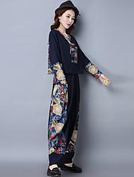 знак 2017 весна новый национальный ветер сшивание хлопчатобумажную рубашку свободные большие ярдов широкие брюки ноги костюм женщин