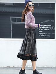 unterzeichnen Frühjahr neue koreanische Version des langen Abschnitt lose Taille elastische Taillenröcke Lederrock Nettogarn