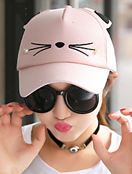 Women Spring Cartoon Cat Pattern Printing Baseball Cap Shade Canvas Sun Cap
