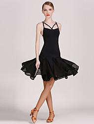 Latintanz-Kleider(Schwarz,Chiffon - Satin / Viskose,Latintanz) - fürDamen Kleid Ärmellos Normal