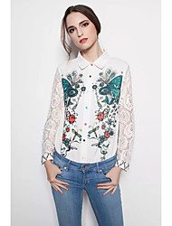 Women's Lace Casual/Daily Going out Sexy Simple Street chic Spring Fall Shirt,Solid Floral Animal Print Shirt Collar Long Sleeve Silk Cotton