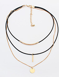Women's Choker Necklaces Tattoo Choker Alloy Round Tube Tattoo Style Fashion Gold Silver Jewelry Daily 1pc