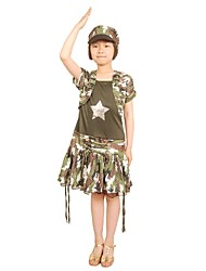 Cosplay Costumes Party Costume Soldier/Warrior Princess Movie Cosplay Silver Green Fuschia Print Vest Dress HatsHalloween Christmas